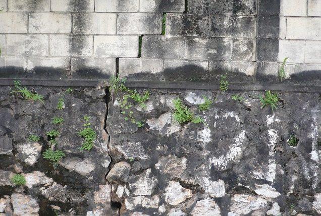Mauer mit Riss durch Erdbeben
